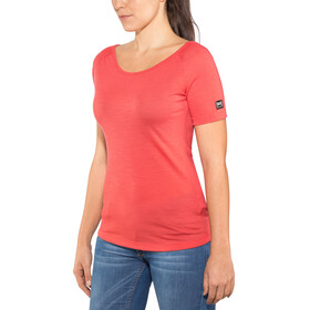 super.natural Essential Scoop Neck Tee 140 - Camiseta manga corta Mujer - rojo